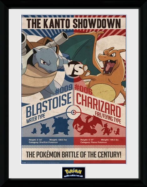 Pokemon Framed Poster Red Vs Blue 45 x 34 cm