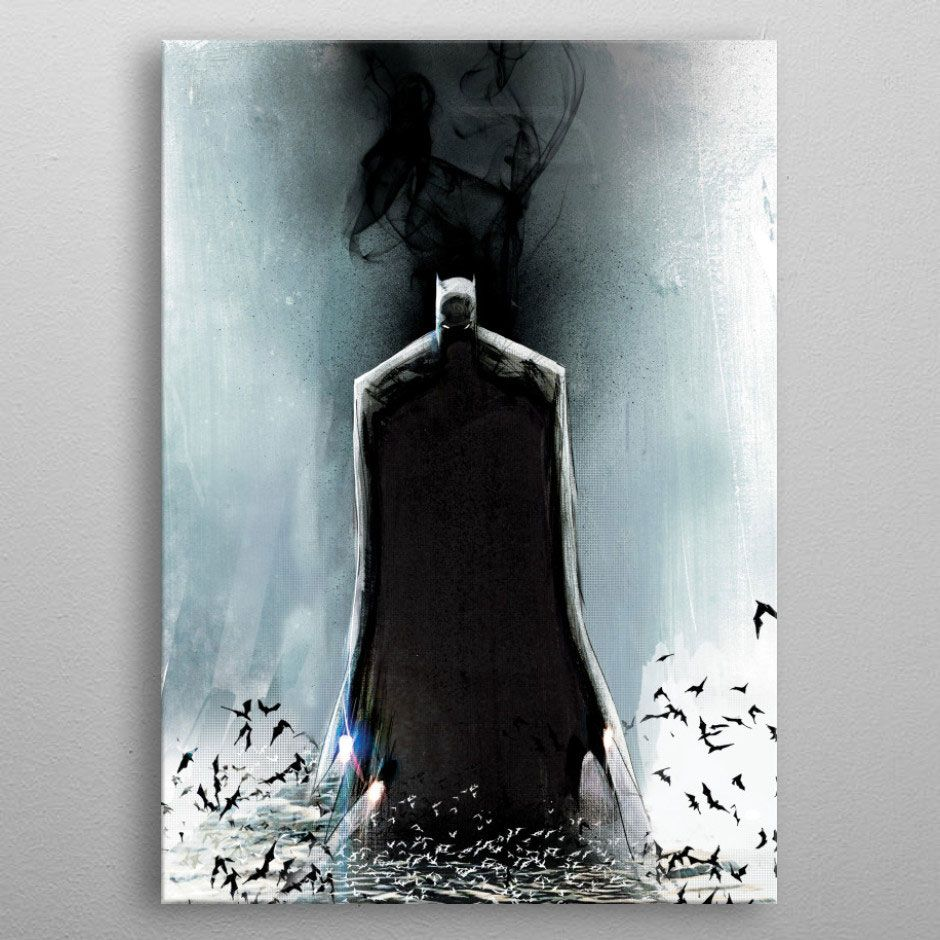 DC Comics Metal Poster Batman Light Absorption Black Mirror 32 x 45 cm