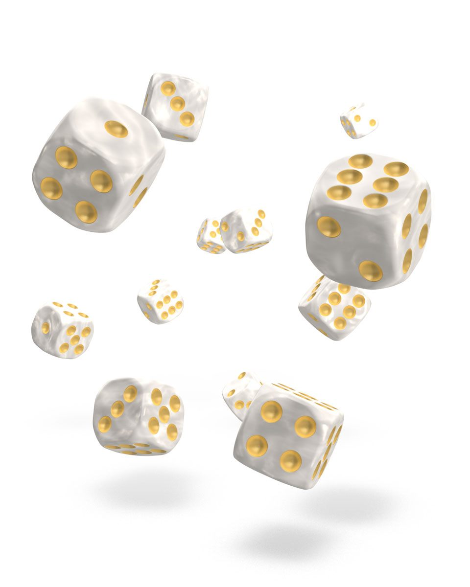 Oakie Doakie Dice D6 Dice 12 mm Marble - White (36)