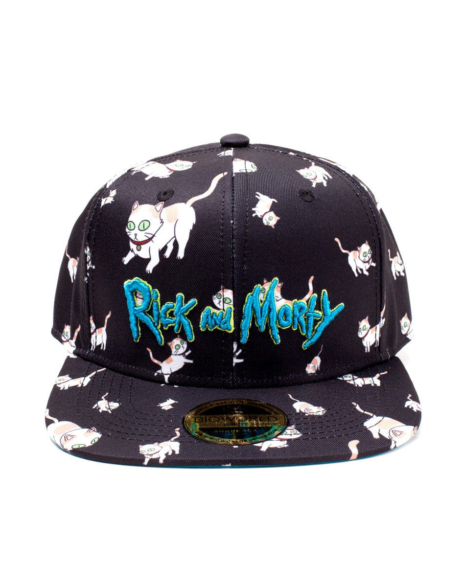 Rick and Morty Embroidery Snapback Cap Cats AOP