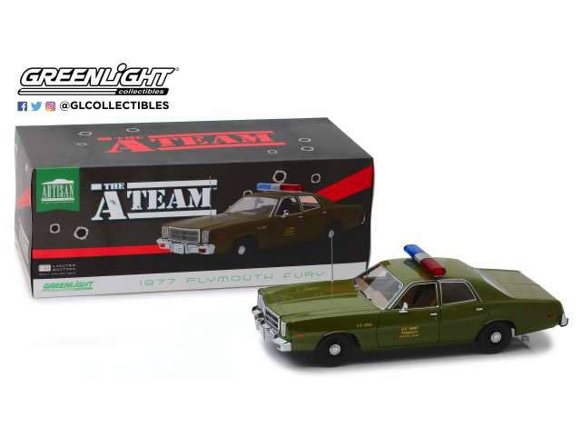 A-Team Diecast Model 1/18 1977 Plymouth Fury U.S. Army Police Colonel Roderick Decker