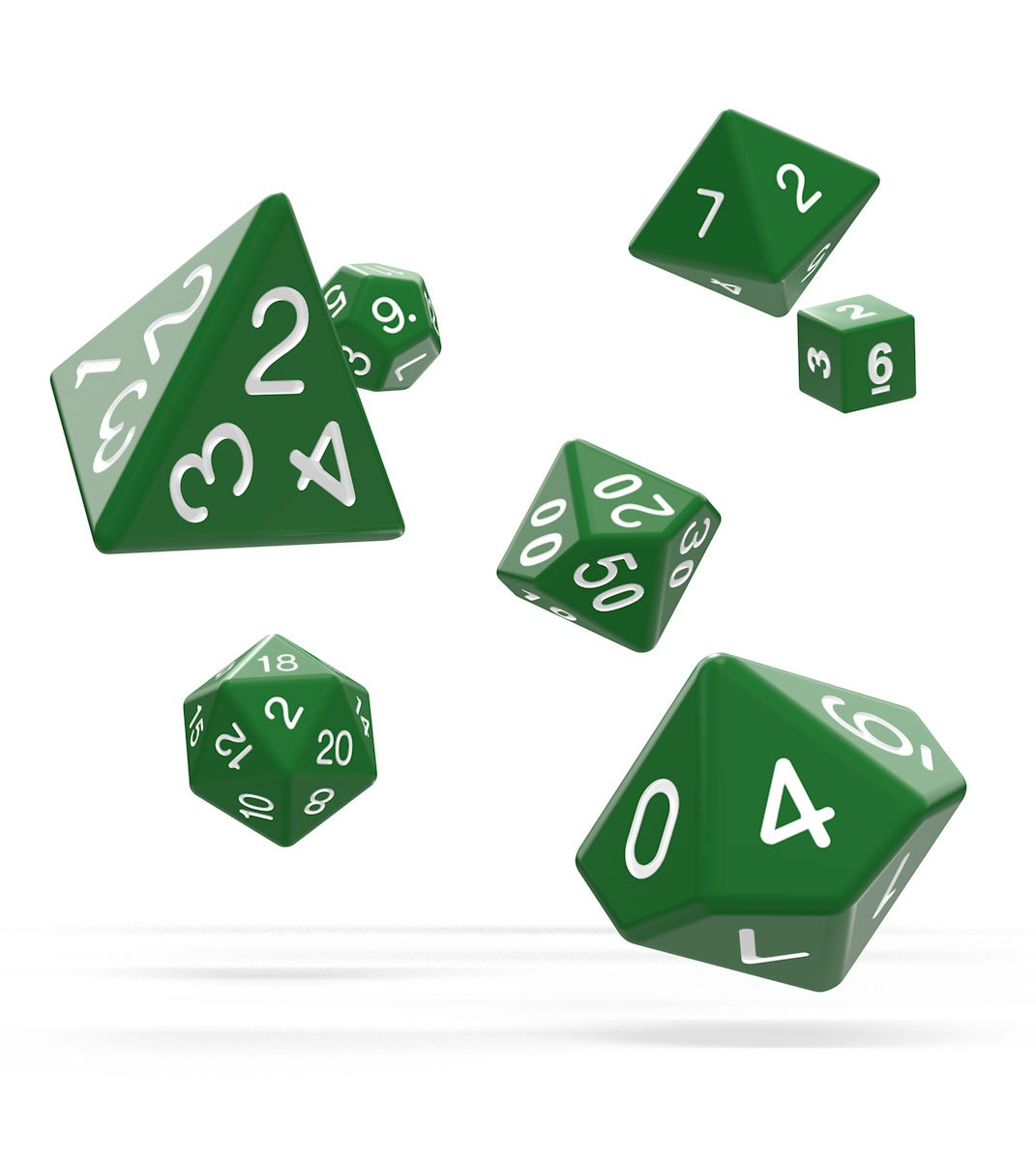 Oakie Doakie Dice RPG Set Solid - Green (7)