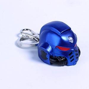 Warhammer 40K Metal Keychain Space Marine Primaris Helmet Ultramarine