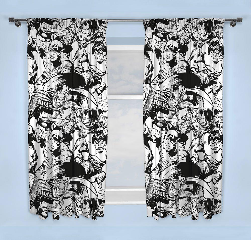 Marvel Curtains Avengers B&W 183 cm