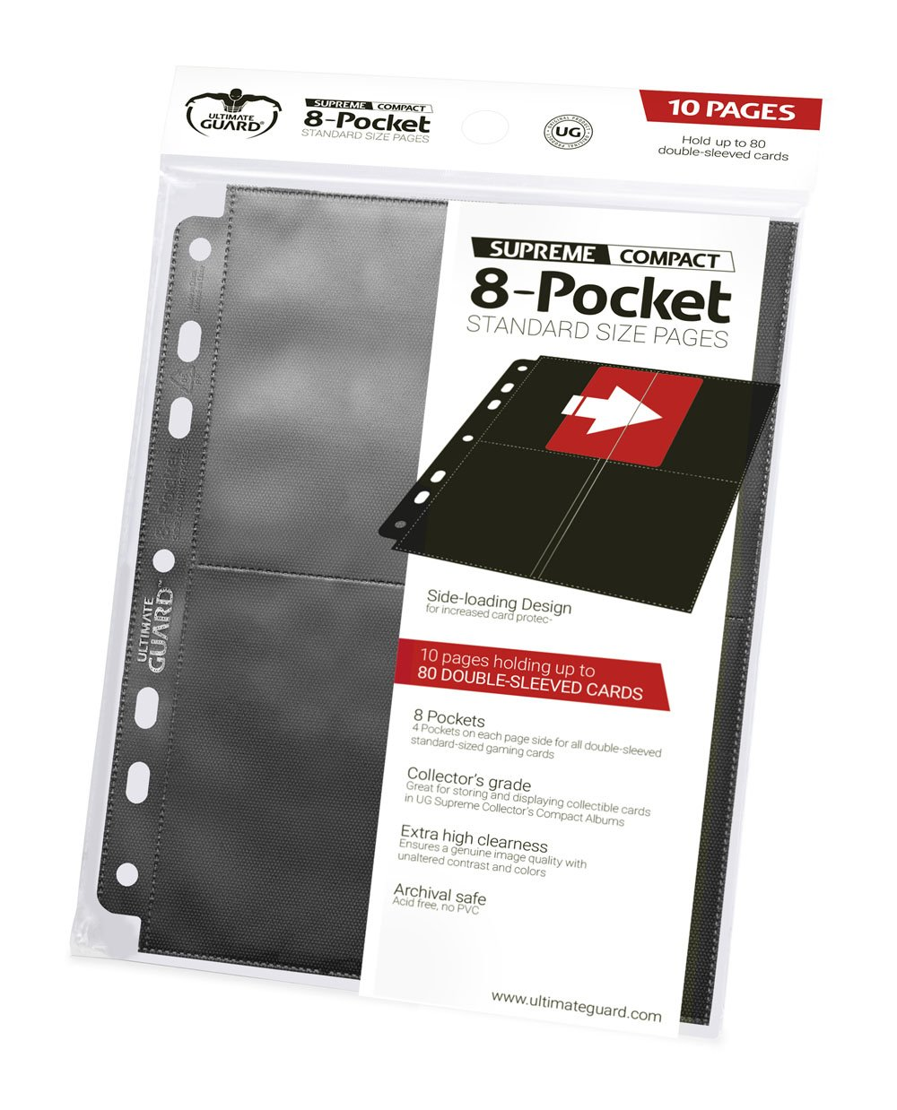 Ultimate Guard 8-Pocket Compact Pages Side-Loading Black (10)