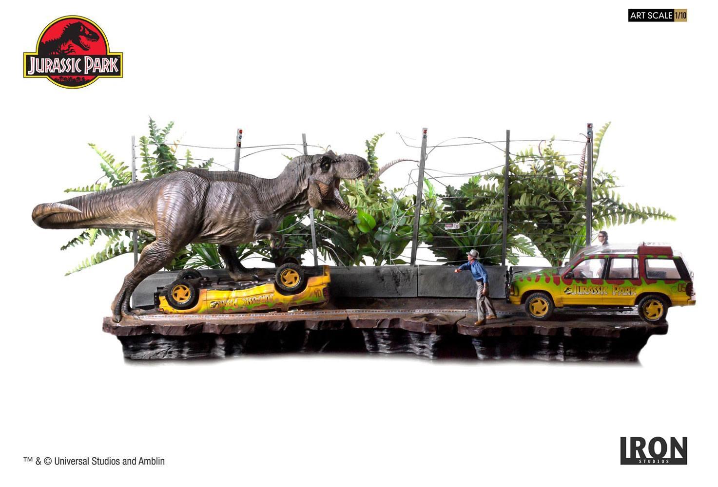 Jurassic Park Art Scale Diorama 1/10 T-Rex Attack Set A + Set B 57 cm