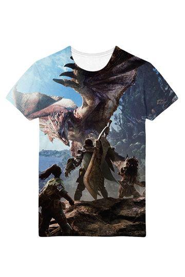 Monster Hunter World Sublimation T-Shirt Hunters Allover Size L