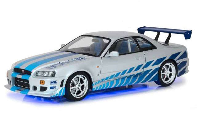 2 Fast 2 Furious Diecast Model 1/18 1999 Brians Nissan Skyline GT-R34 with Light-Up Function