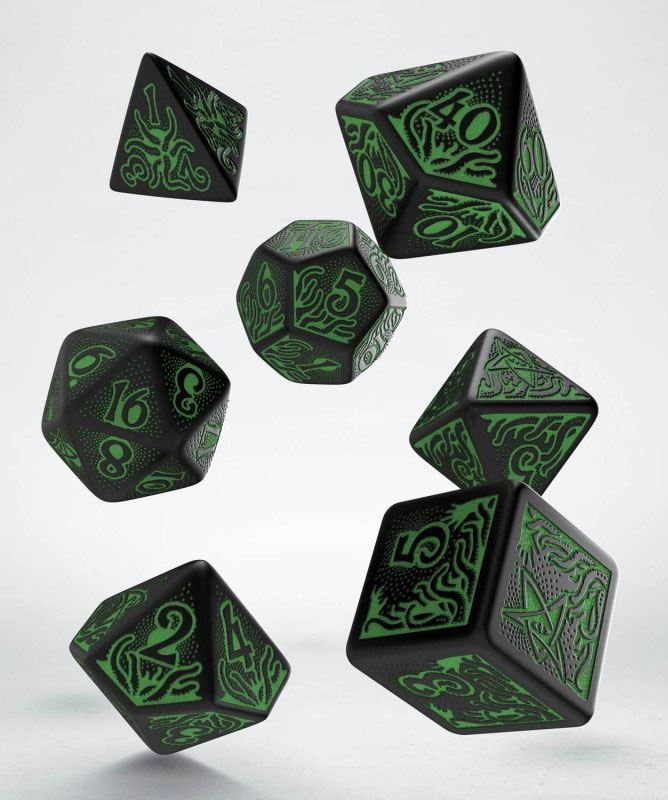 Call of Cthulhu: 7th Edition Dice Set black & green (7)