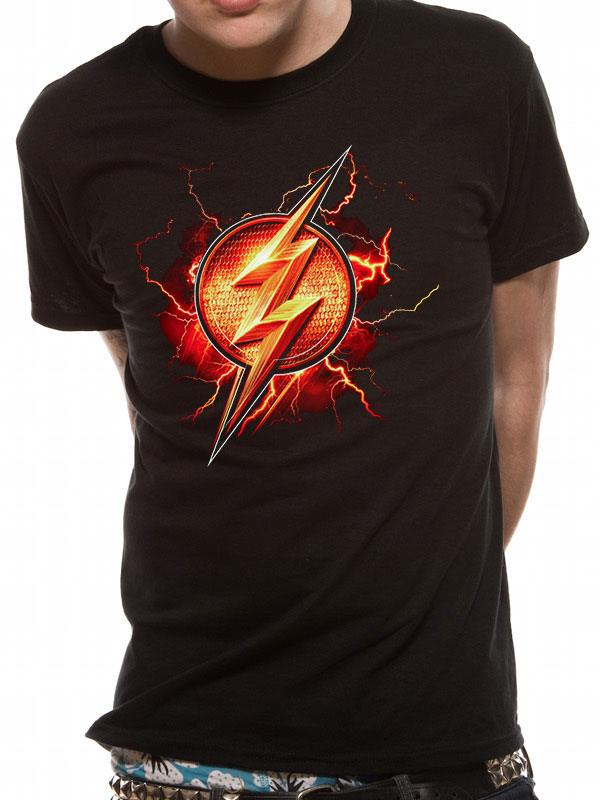 Justice League Movie T-Shirt Flash Symbol Size S
