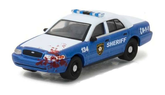 Walking Dead Diecast Model 1/64 2001 Ford Crown Police Interceptor Bloody Lootchest Exclusive