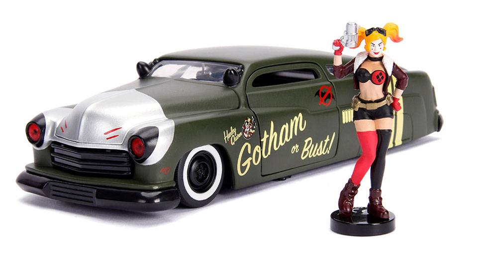 DC Bombshells Diecast Model Hollywood Rides 1/24 1951 Mercury with Harley Quinn Figure