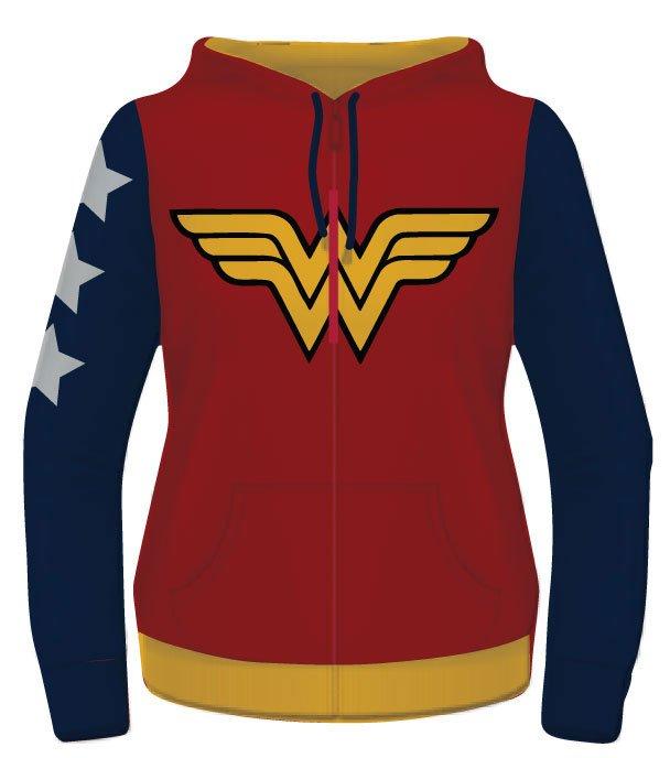 Wonder Woman Ladies Hooded Zip Sweater Yellow Logo Size XL