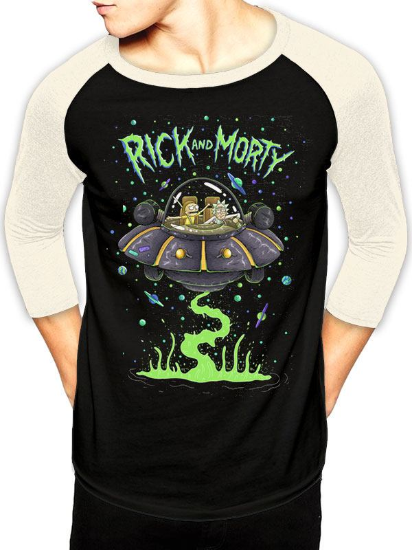 Rick and Morty Baseball Long Sleeve Shirt Spaceship Size S