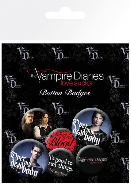 Vampire Diaries Pin Badges 6-Pack Stefan & Damon