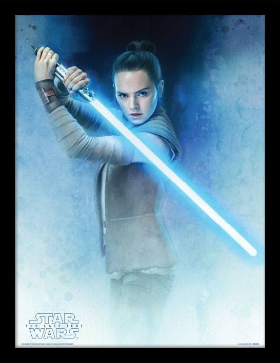 Star Wars Episode VIII Framed Poster Rey Lightsaber Guard 45 x 33 cm
