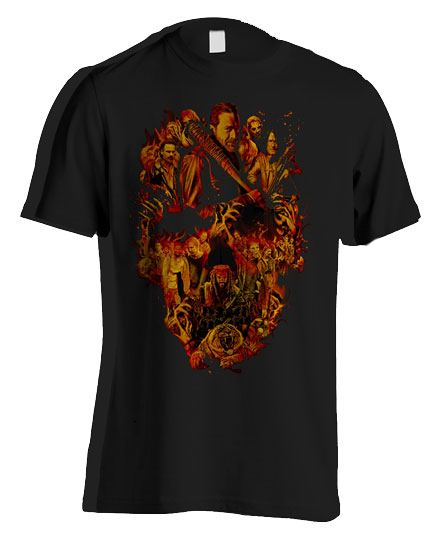 Walking Dead T-Shirt Orange Skull Size M