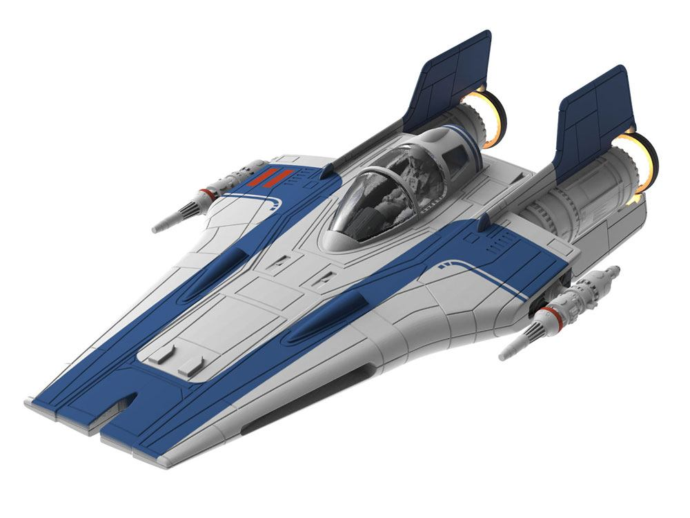 Star Wars Build & Play Model Kit with Sound & Light Up 1/44 Resistance A-Wing Fighter Blue