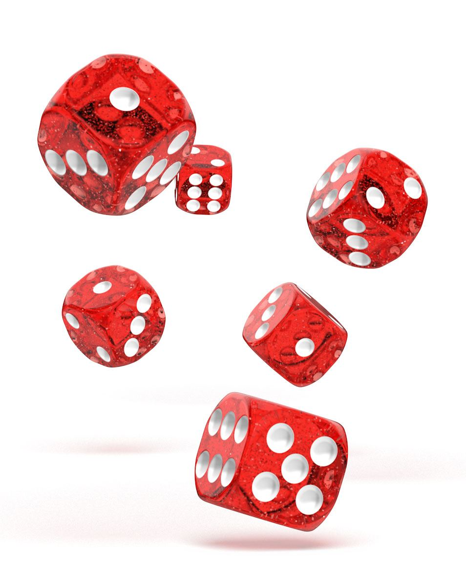 Oakie Doakie Dice D6 Dice 16 mm Speckled - Red (12)