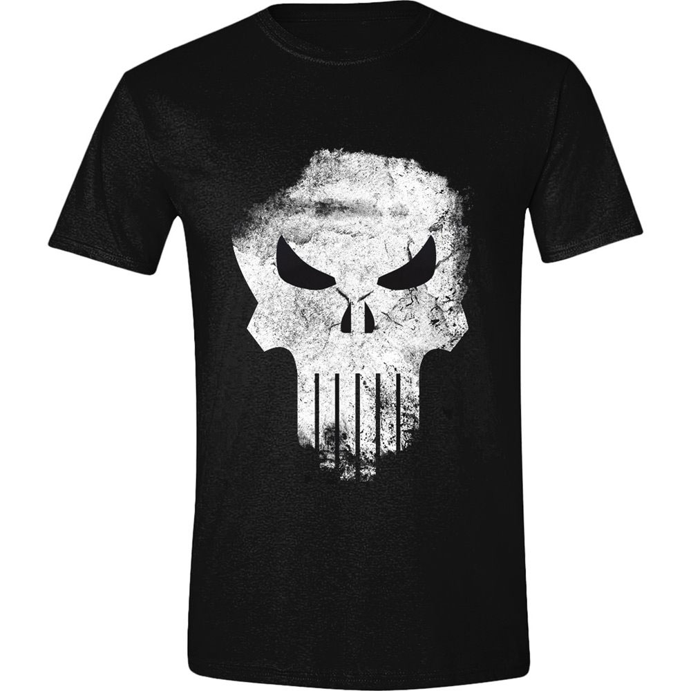 The Punisher T-Shirt Distressed Skull  Size L