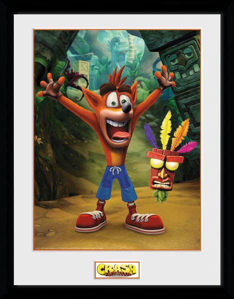 Crash Bandicoot Framed Poster Aku Aku 45 x 34 cm