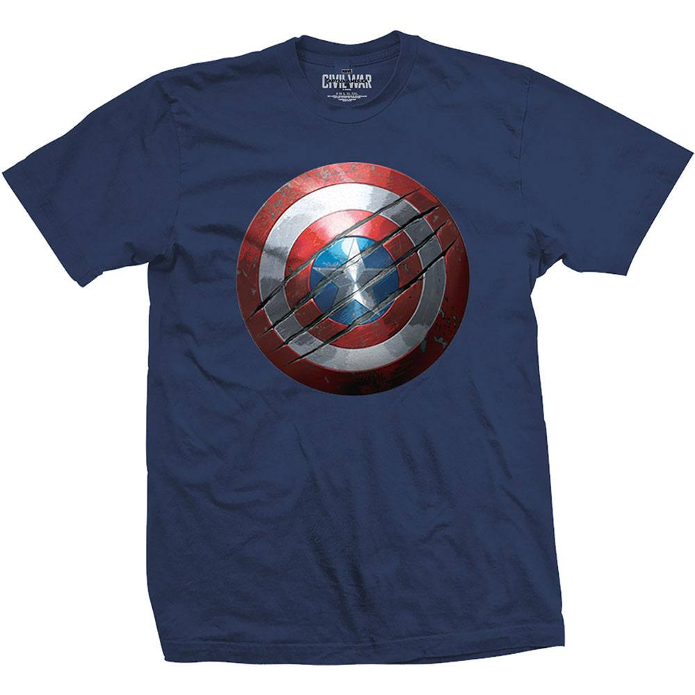 Captain America Civil War T-Shirt Clawed Shield Size XL