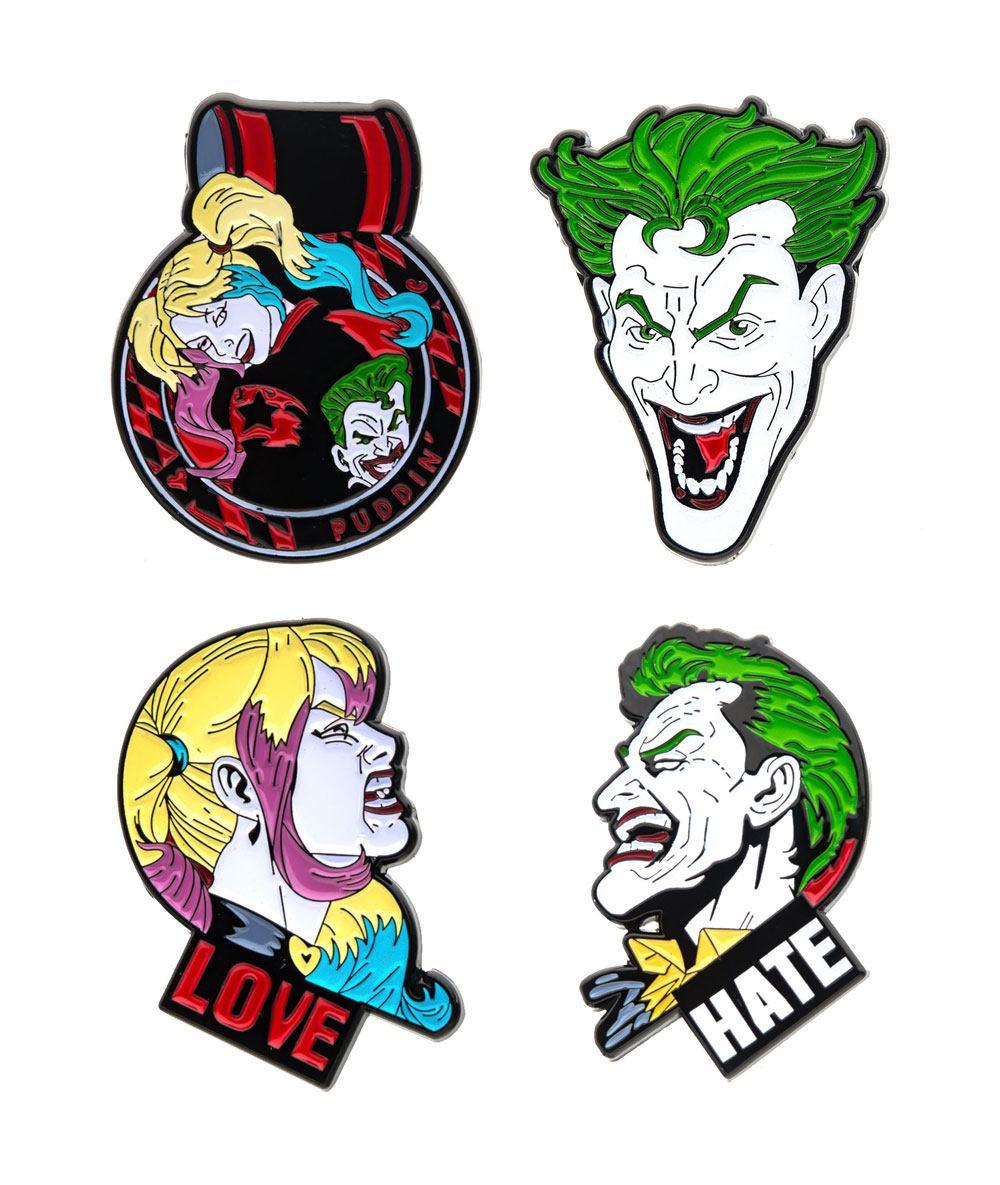 DC Comics Collectors Pins 4-Pack Joker & Harley Quinn