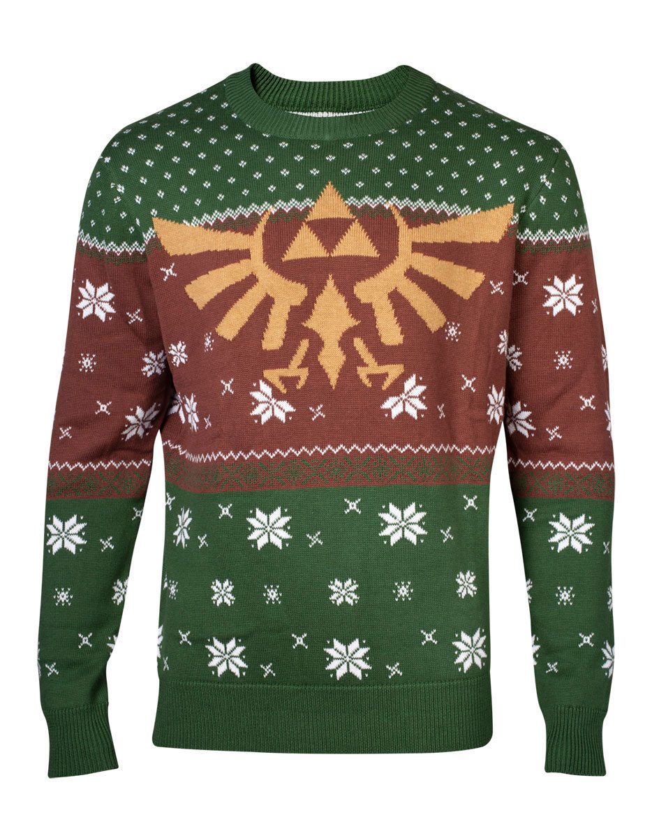 The Legend of Zelda Knitted Christmas Sweater Golden Logo Red & Green Size L