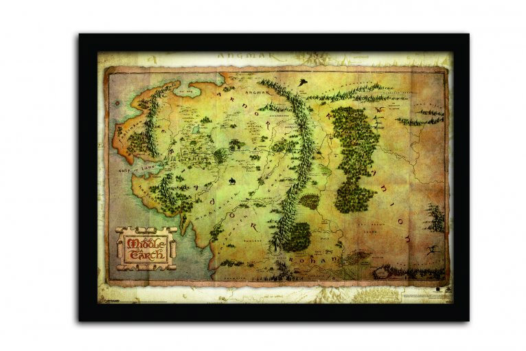 The Hobbit An Unexpected Journey Framed Poster Journey Map 42 x 30 cm