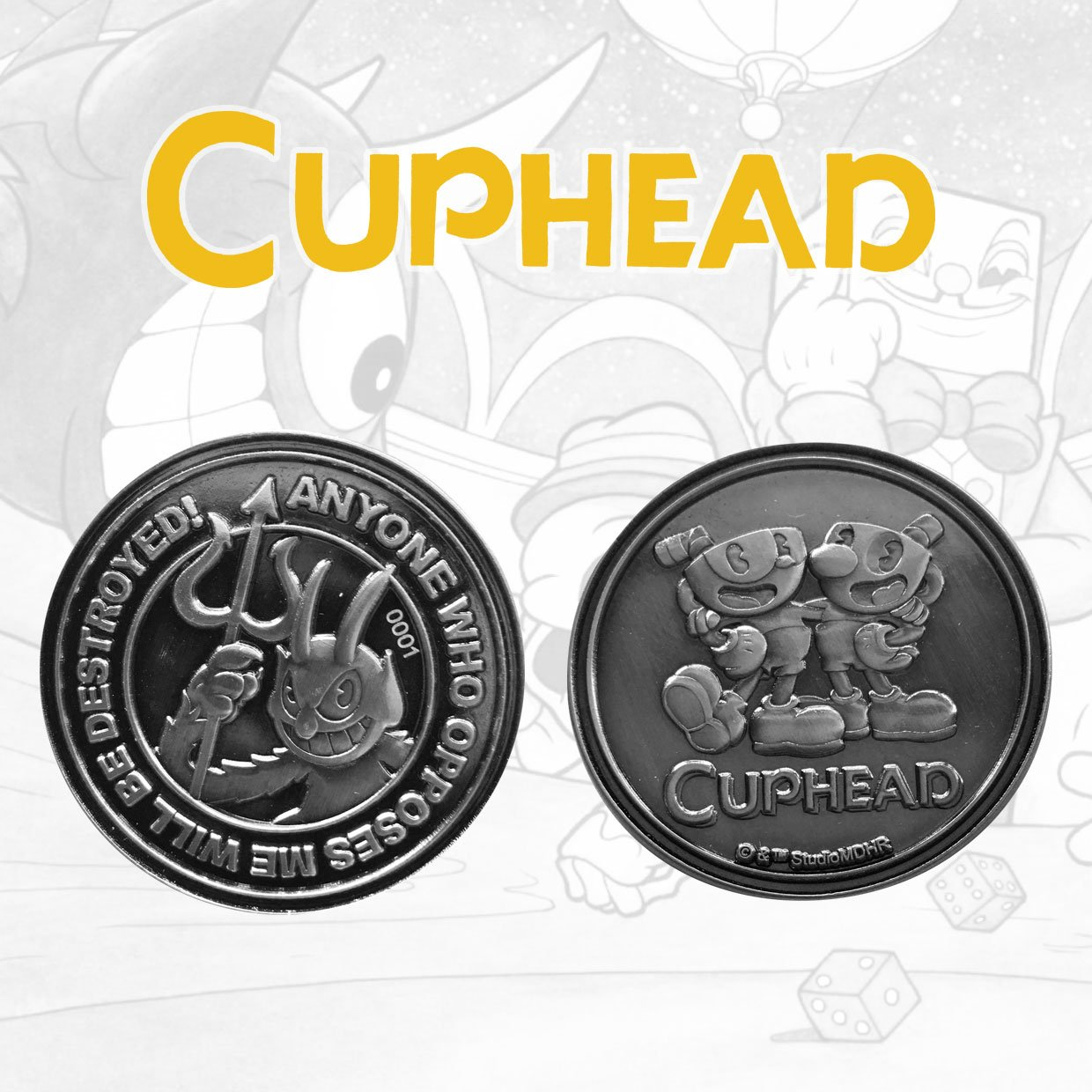 Cuphead Collectable Coin The Devil, Cuphead & Mugman Limited Edition
