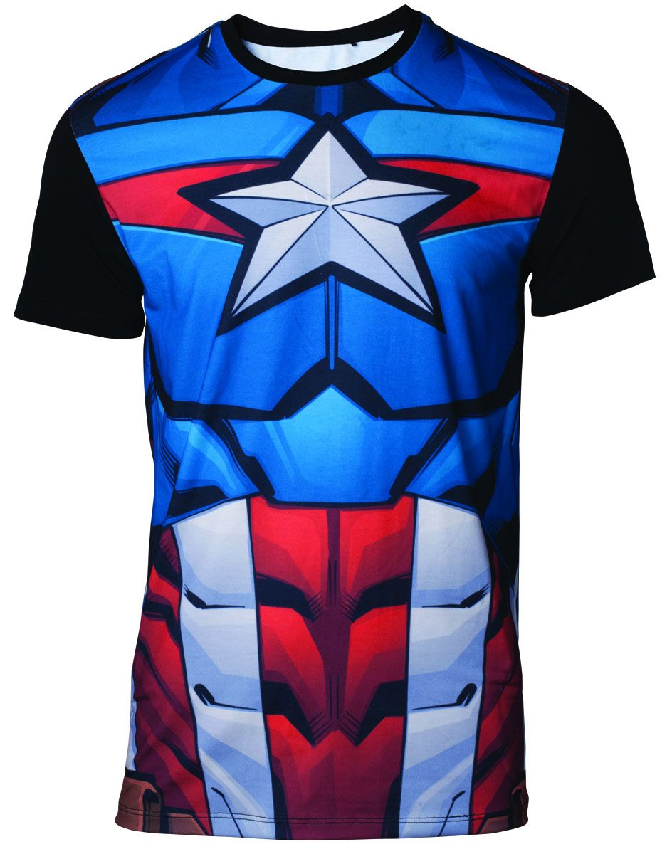 Marvel Sublimation T-Shirt Captain America Size M