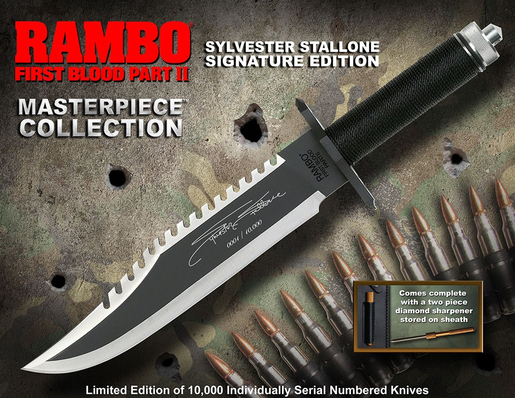 Rambo First Blood Part II Replica 1/1 Knife Sylvester Stallone Signature Edition 40 cm