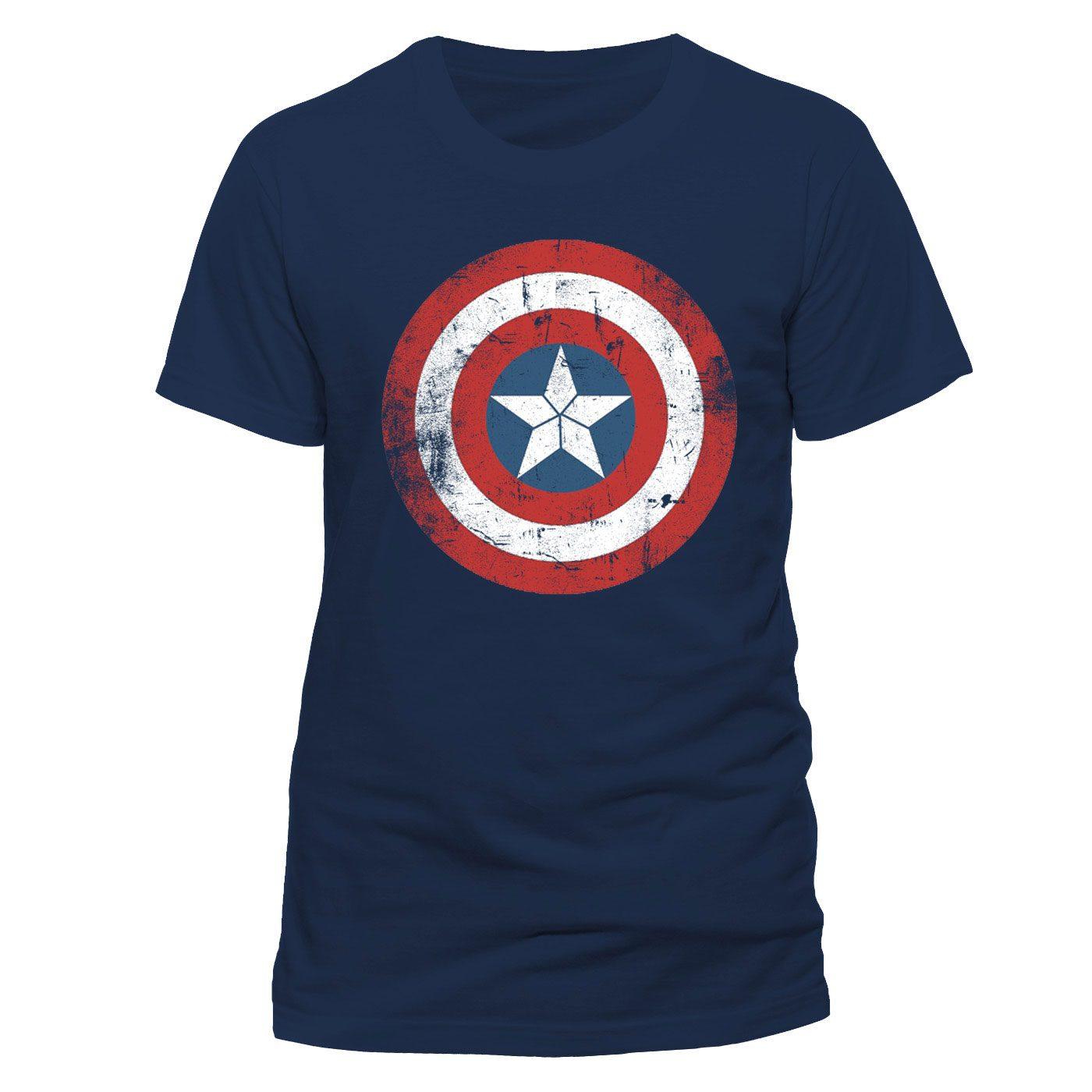 Captain America T-Shirt Shield Logo Distressed Size L