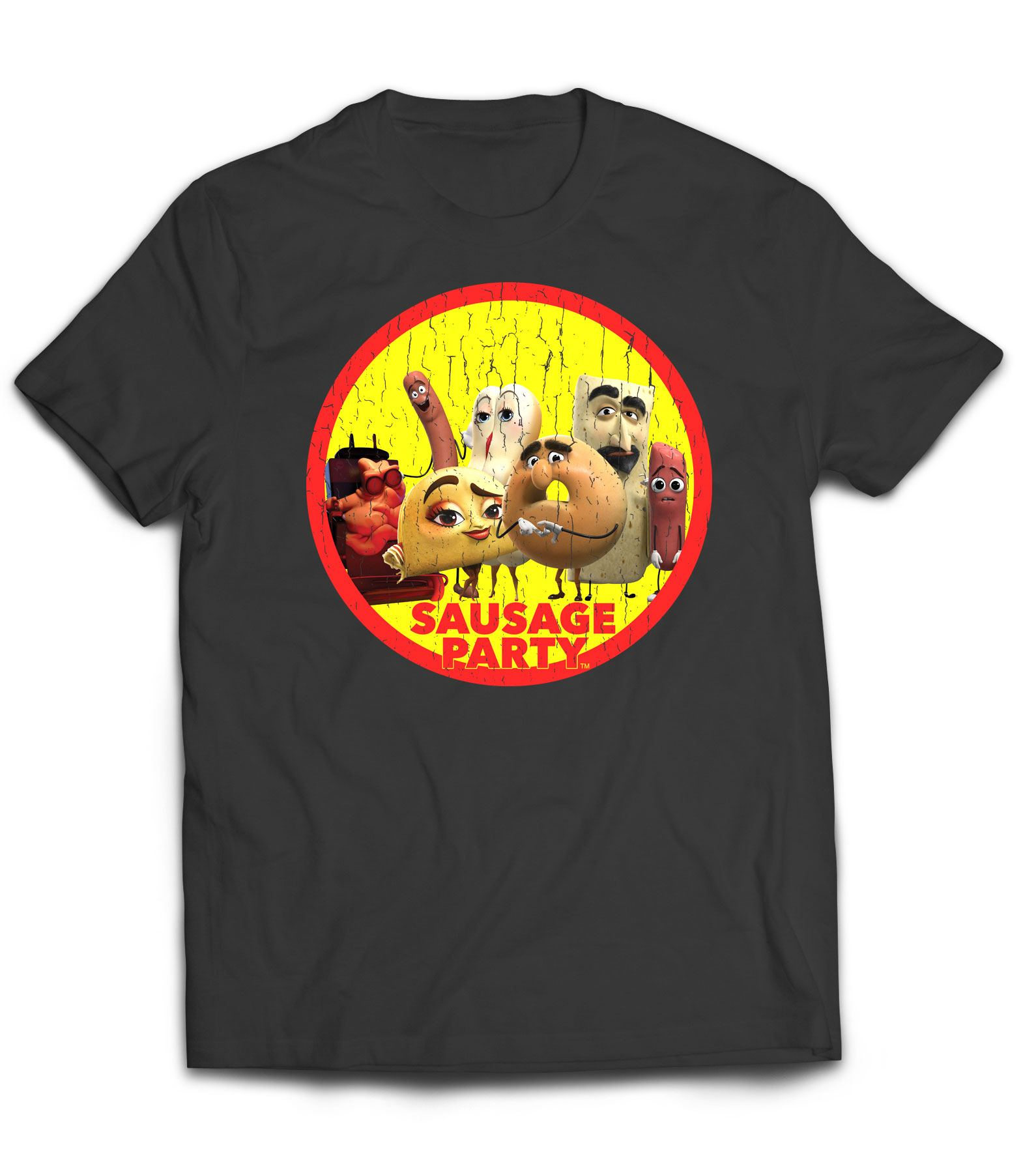 Sausage Party T-Shirt Distressed Character Badge Size M