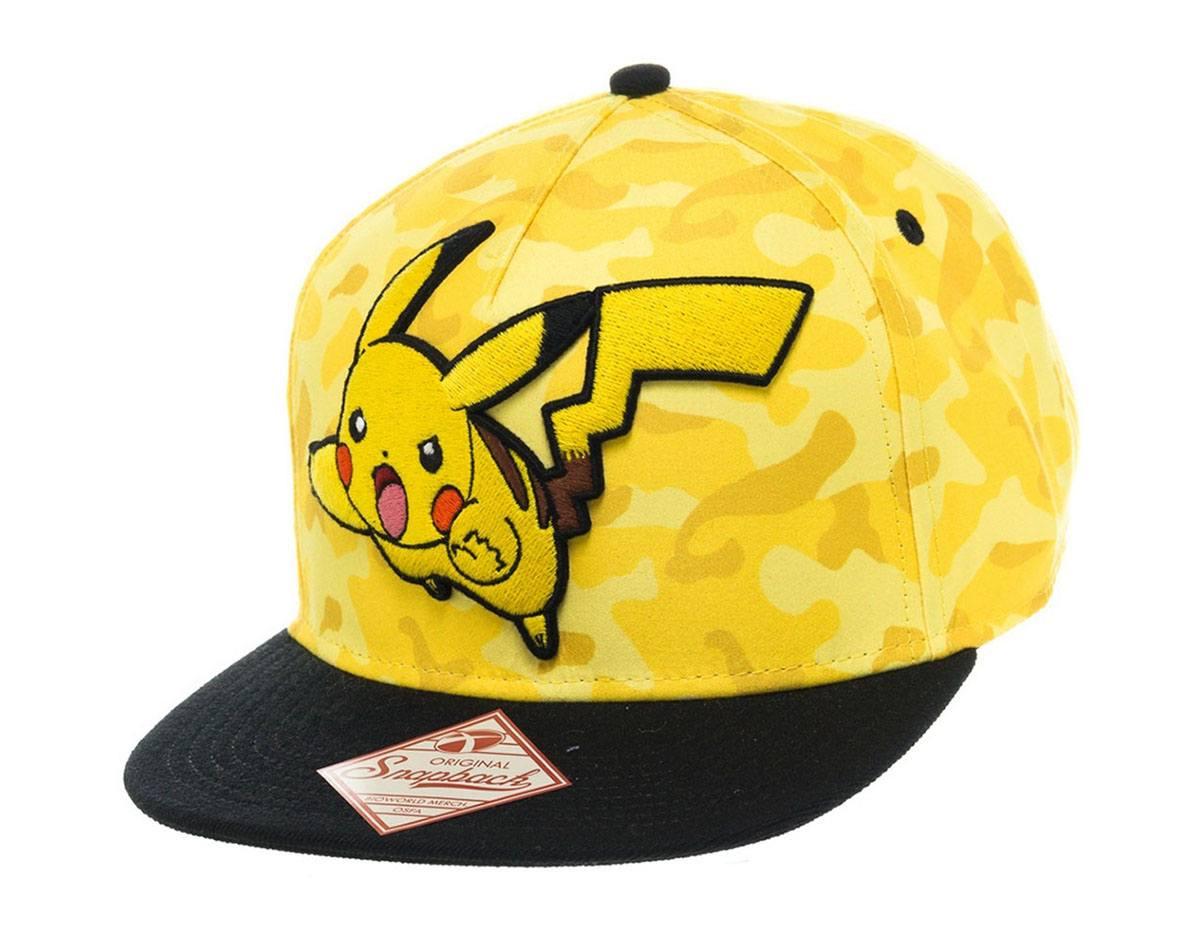 Pokemon Snap Back Baseball Cap Pikachu Camo