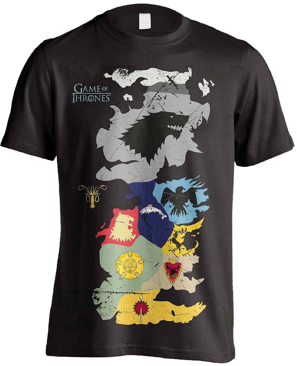 Game of Thrones T-Shirt Westeros Sigils Map Size L