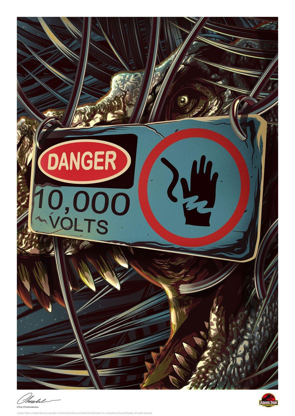 Jurassic Park Art Print Danger 42 x 30 cm
