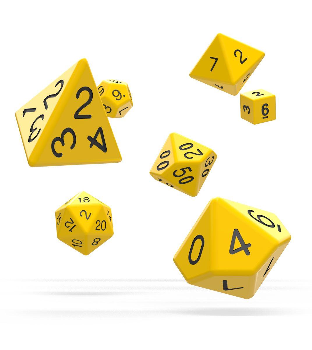 Oakie Doakie Dice RPG Set Solid - Yellow (7)
