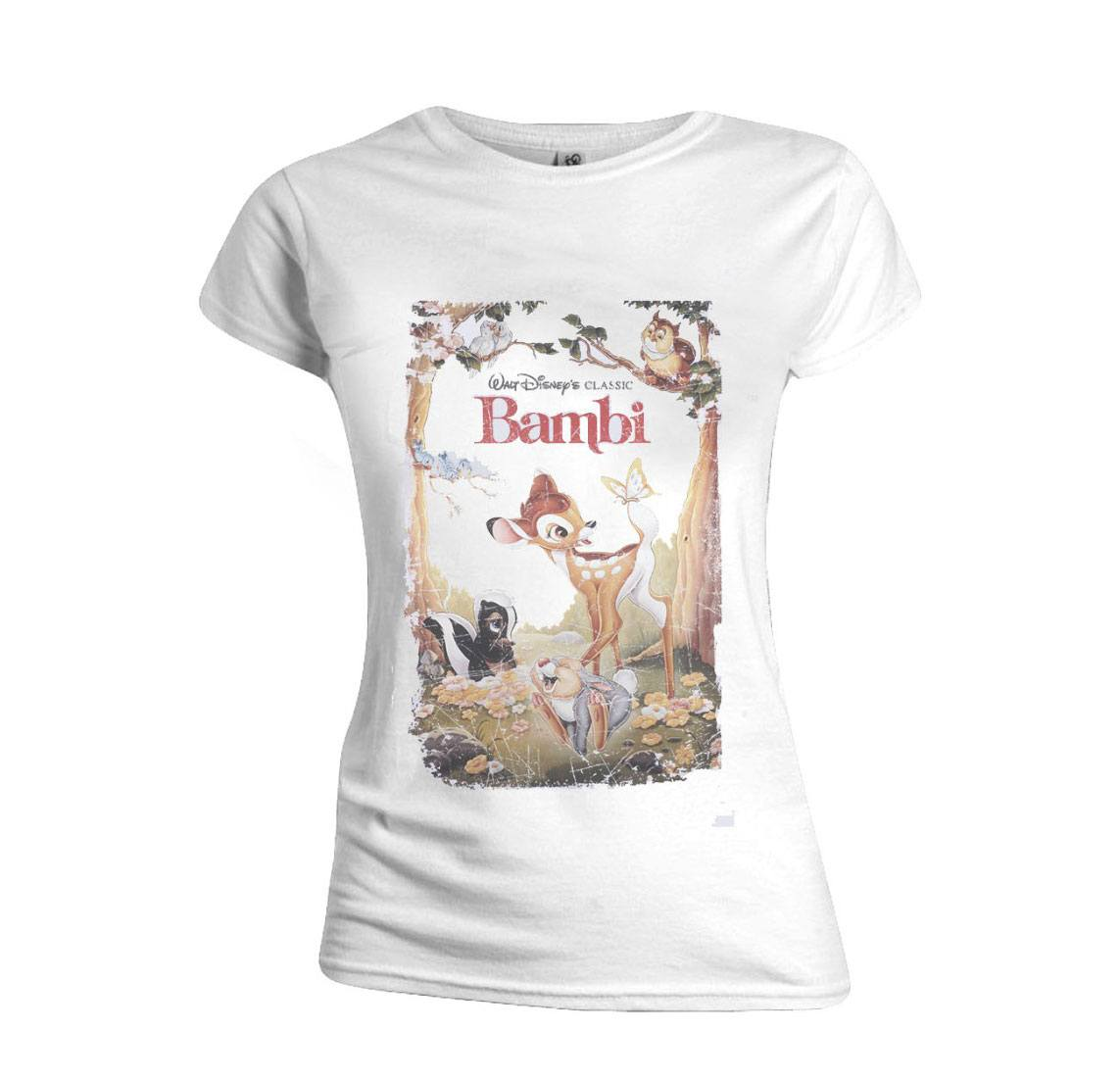Bambi Ladies T-Shirt Retro Poster Size L