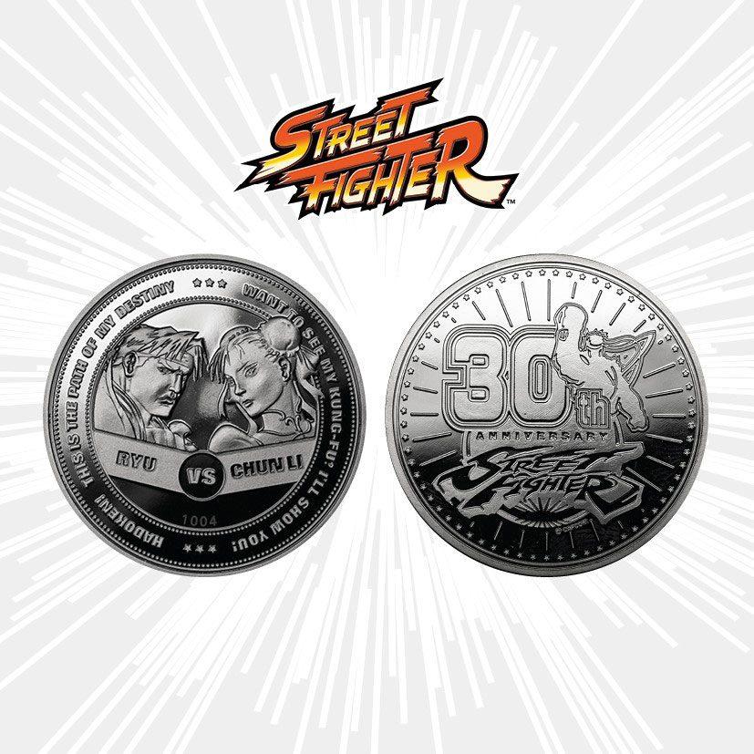 Street Fighter Collectable Coin 30th Anniversary Ryu vs Chun-Li Silver Edition