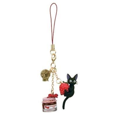 Kiki's Delivery Service Strap Charm Jiji & Strawberry Jam 13 cm