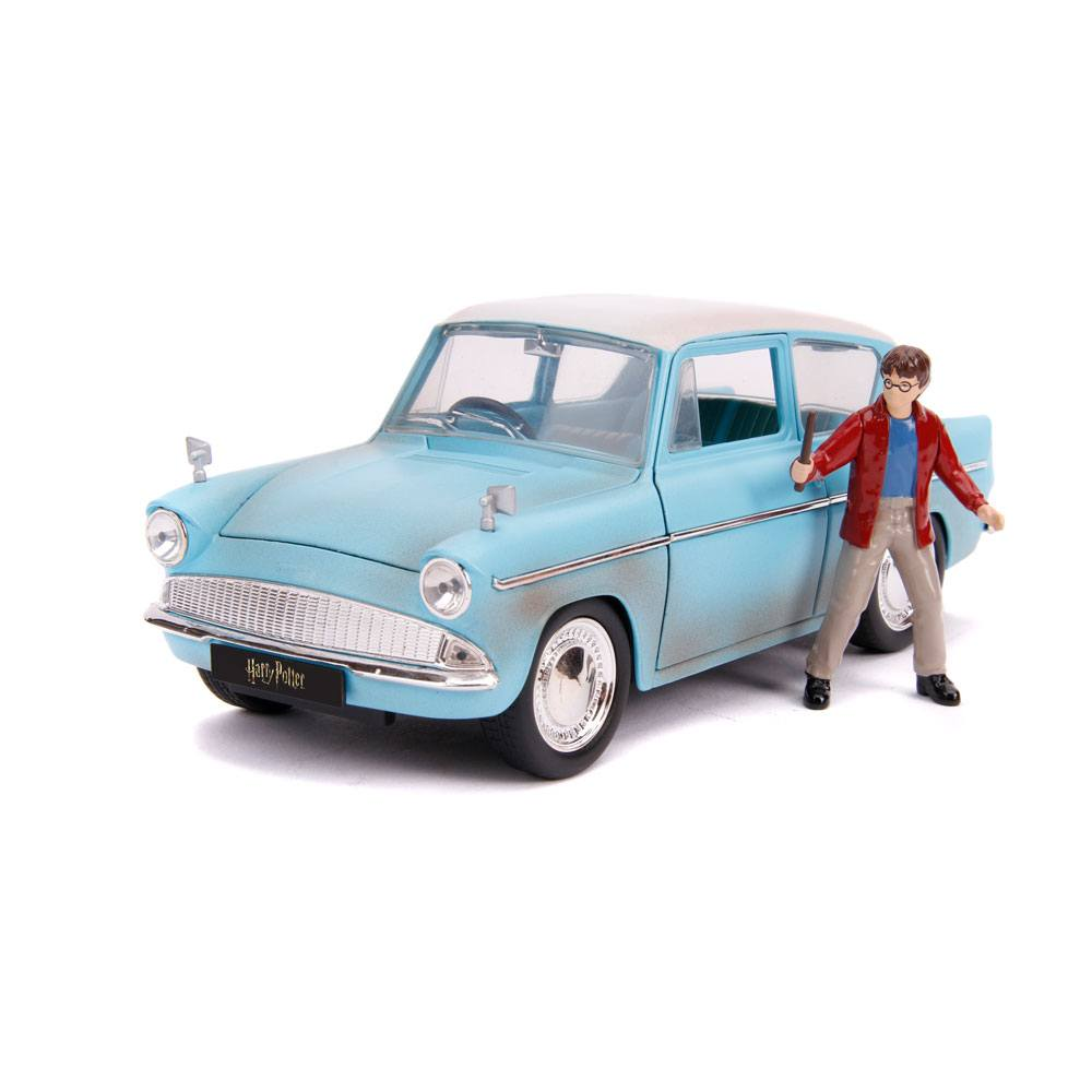 Harry Potter Hollywood Rides Diecast Model 1/24 1959 Ford Anglia with Figure