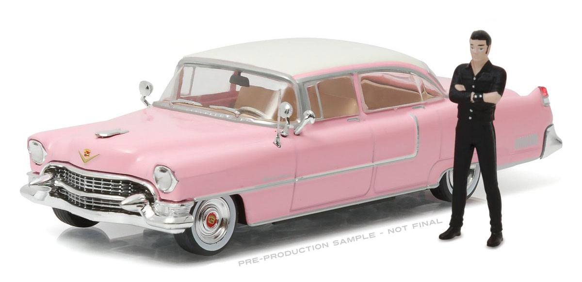 Elvis Presley Diecast Model 1/43 1955 Cadillac Fleetwood Series 60 Pink Cadillac with figure