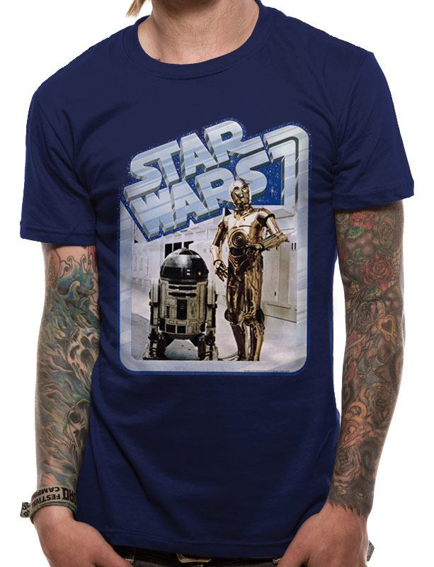 Star Wars T-Shirt Droids Retro Badge Size XL