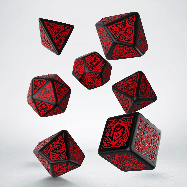 Celtic 3D Revised Dice Set black & red (7)