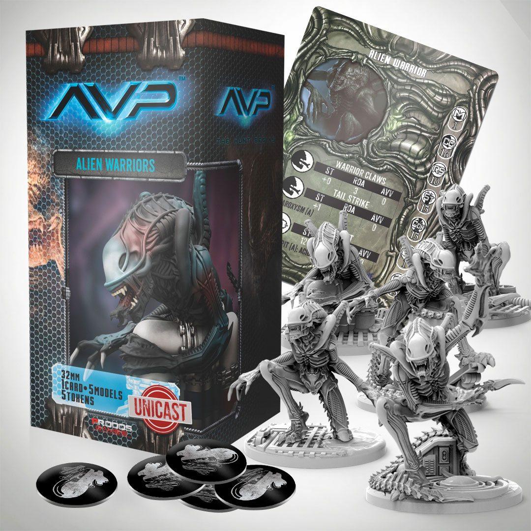 AvP Tabletop Game The Hunt Begins Expansion Pack Alien Warriors UniCast Edition *German Version*
