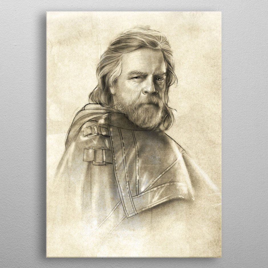 Star Wars Metal Poster Last Jedi Sketches Luke Skywalker 32 x 45 cm