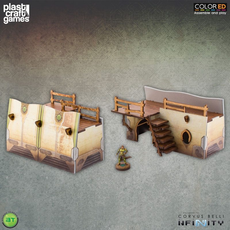 Infinity ColorED Miniature Gaming Model Kit 28 mm Bourak Wall Section (2x)