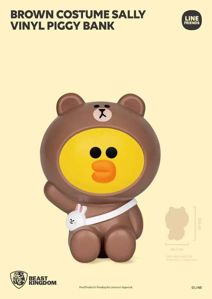 Line Friends Series Vinyl Piggy Bank Brown Costume Sally 34 cm