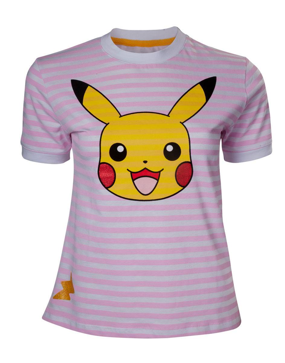 Pokemon Ladies T-Shirt Pikachu Striped  Size L